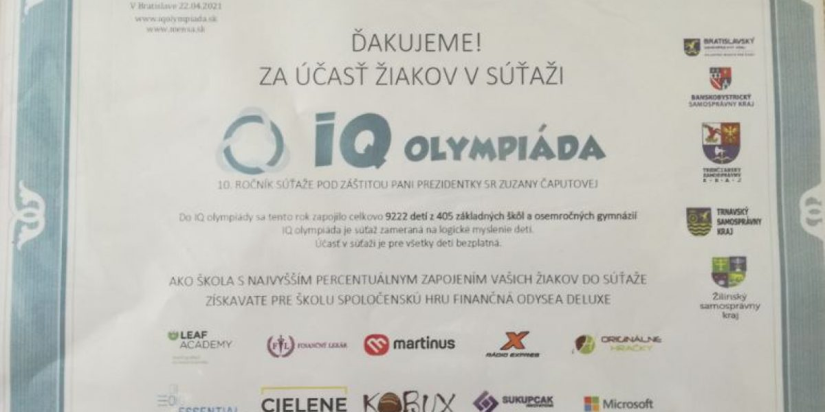 diplom IQ olympiáda